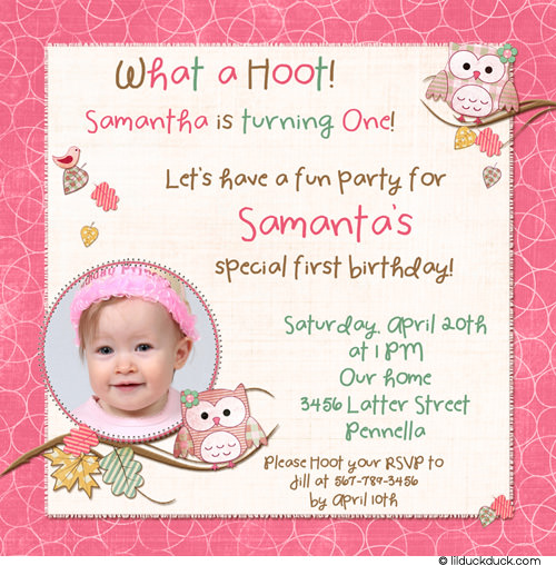 birthday invitation card design for girls ; Cute-Hoot-Owls-Birthday-Girl-Pink-Teal-altern-font-1-photo