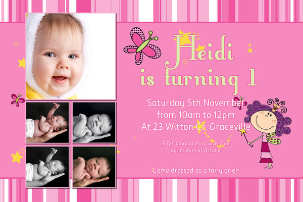 birthday invitation card design for girls ; GB04