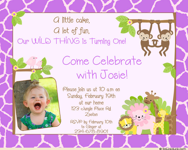 birthday invitation card design for girls ; Girls-jungle-Safari-Birthday-purple-pattern-border-1-photo