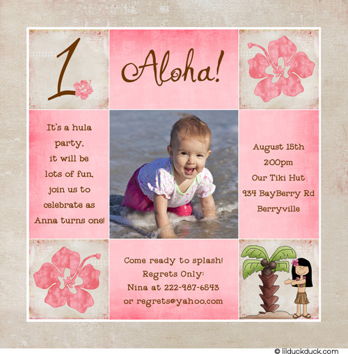 birthday invitation card design for girls ; One-Photo-Hibiscus-girl-Birthday-Invitation-hula