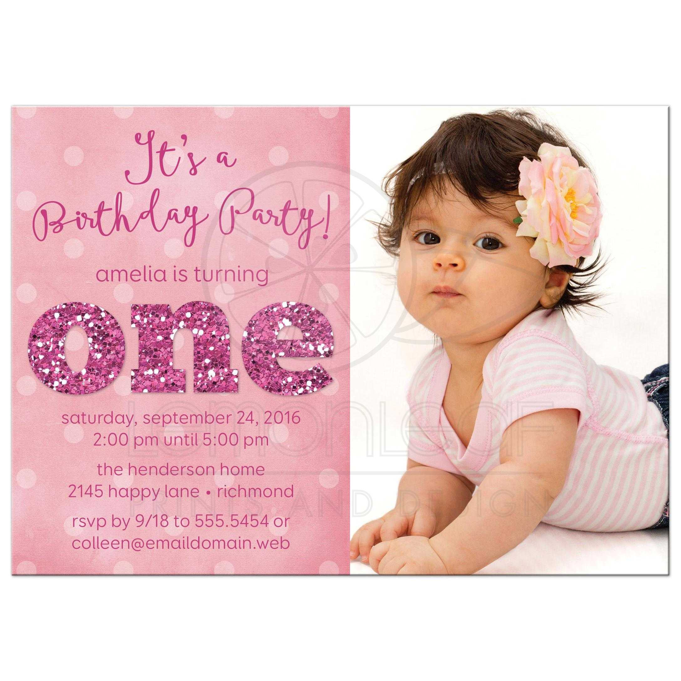 birthday invitation card design for girls ; first-birthday-party-invitations-sparkle-look-back-and-cherish-the-memories-beautiful-baby-girls-celebrates-pink-color-cards