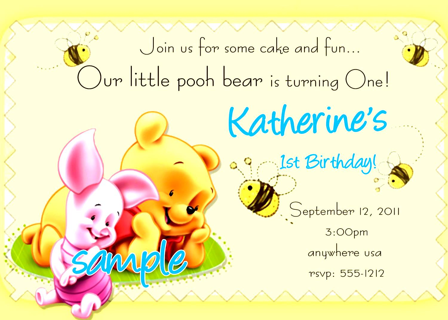 birthday invitation card sample design ; birthday-invitation-card-template-for-kids-winnie-the-pooh-themed-completing-simple-and-elegant-stunning-adding-by-awesome-design-looked-so-gorgeous