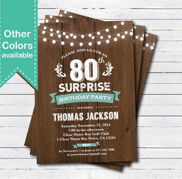 birthday invitation card template free ; Download-Surprise-80th-Birthday-Invitation-Template-Printable