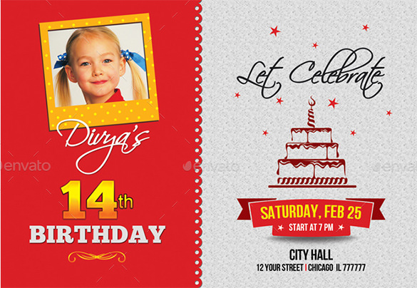 birthday invitation card template with photo ; Birthday-Invitation-Card-Template-Photo-PSD-Download