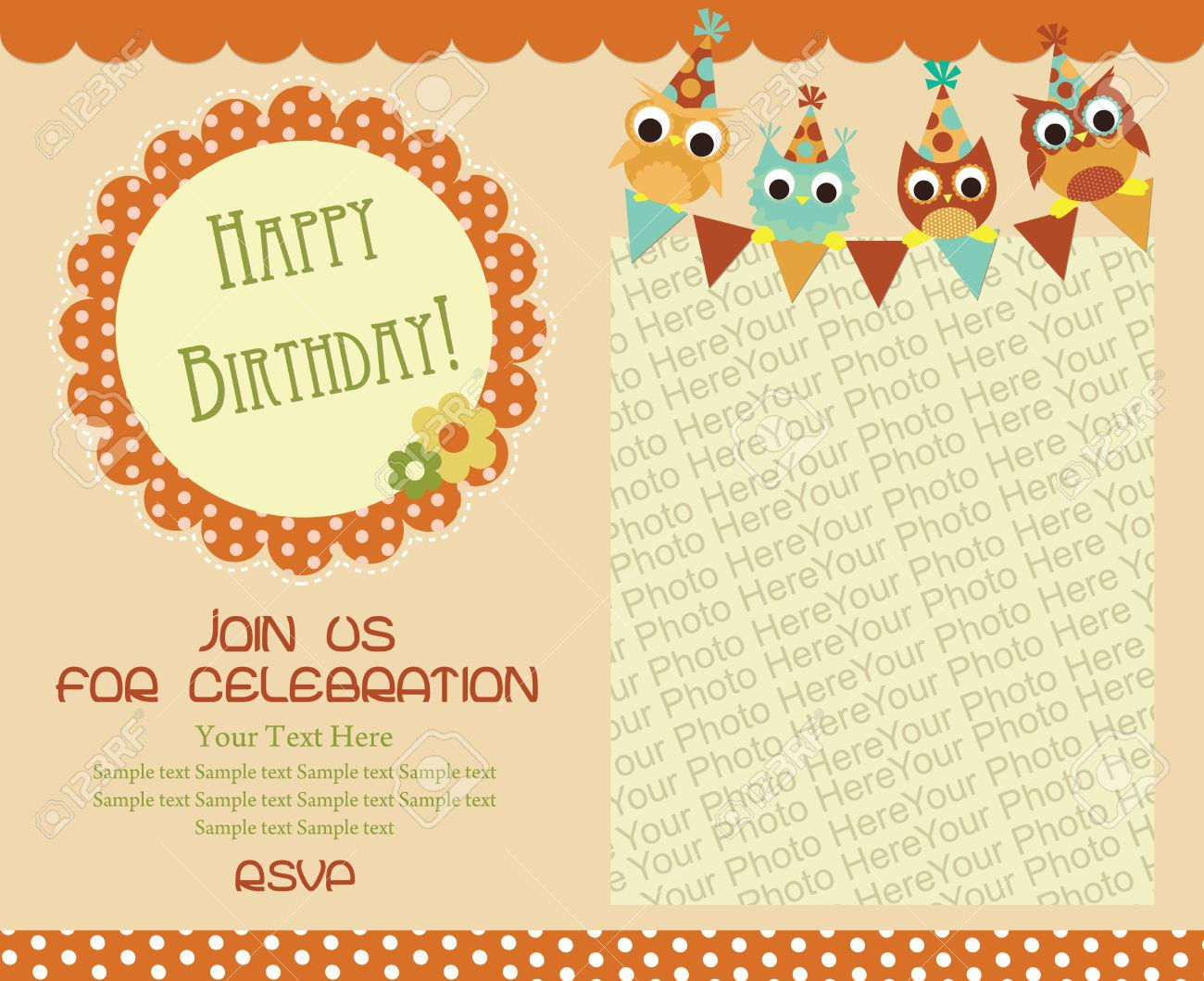 birthday invitation card template with photo ; happy-birthday-invitation-card-template