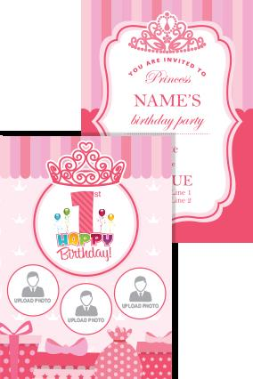birthday invitation card with name and photo ; 13_29_23