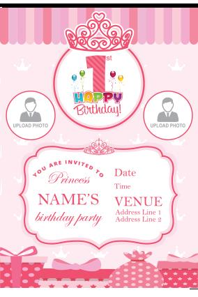birthday invitation card with name and photo ; 13_29_32