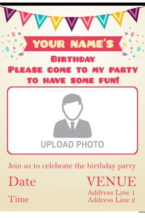 birthday invitation card with name and photo ; 8_132_24