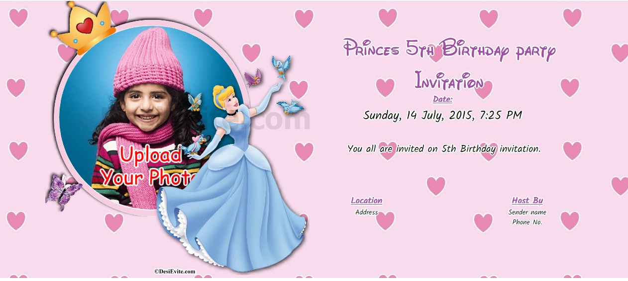 birthday invitation card with name and photo ; Princes-5th-Birthday-party-Invitation-card-bg-107