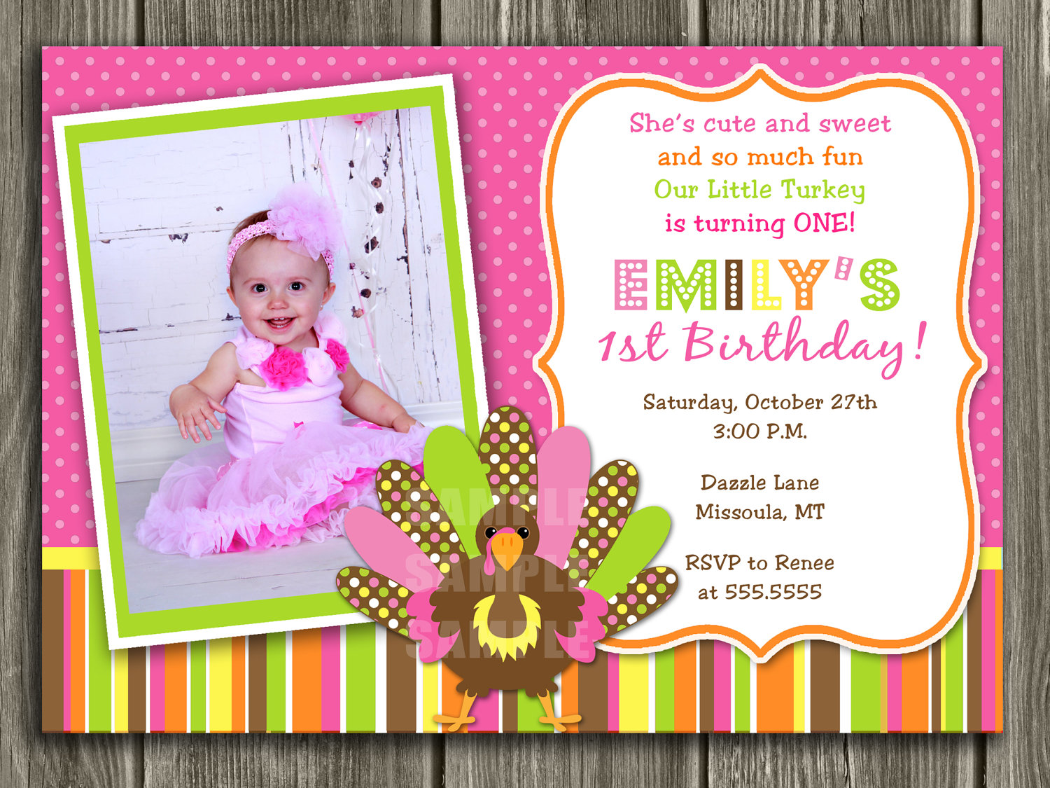 birthday invitation card with name and photo ; il_fullxfull