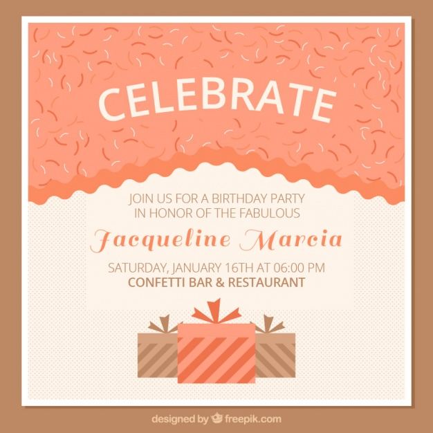 birthday invitation card with photo ; birthday-invitation-card-with-gift-boxes_23-2147576114