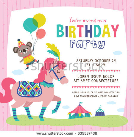 birthday invitation card with photo ; stock-vector-birthday-invitation-card-with-cute-little-koala-and-horse-635537438