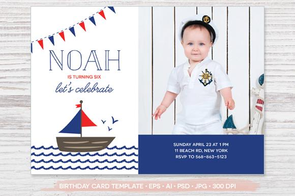 birthday invitation photoshop template ; Birthday-Photo-Card-Template