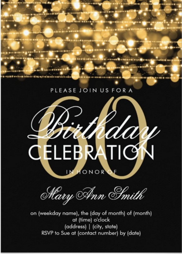 birthday invitation photoshop template ; Elegant-60th-Birthday-Party-Sparkles