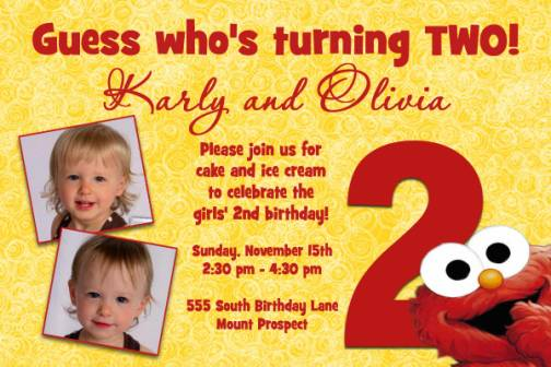 birthday invitation quotes for 2 year old ; Yellow-and-red-Elmo-2nd-birthday-invitation-wording