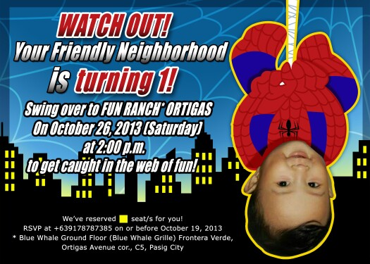 Birthday Invitation Spiderman Theme