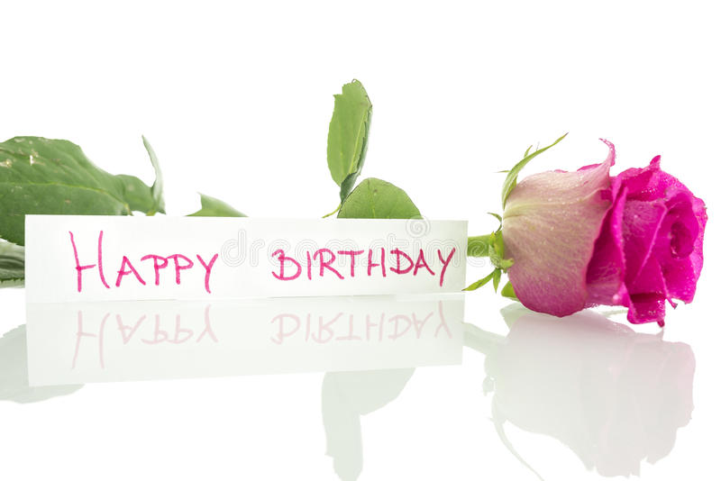 birthday message images download ; happy-birthday-message-leaning-beautiful-pink-rose-over-white-background-34050387