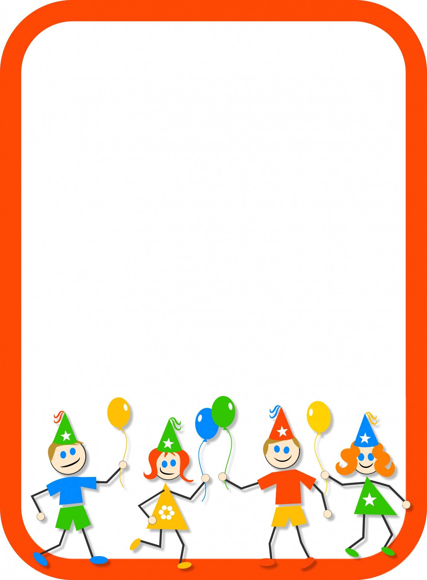 birthday party border clip art ; kids-party-border