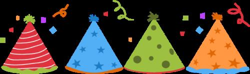 birthday party border clip art ; party-hats-confetti