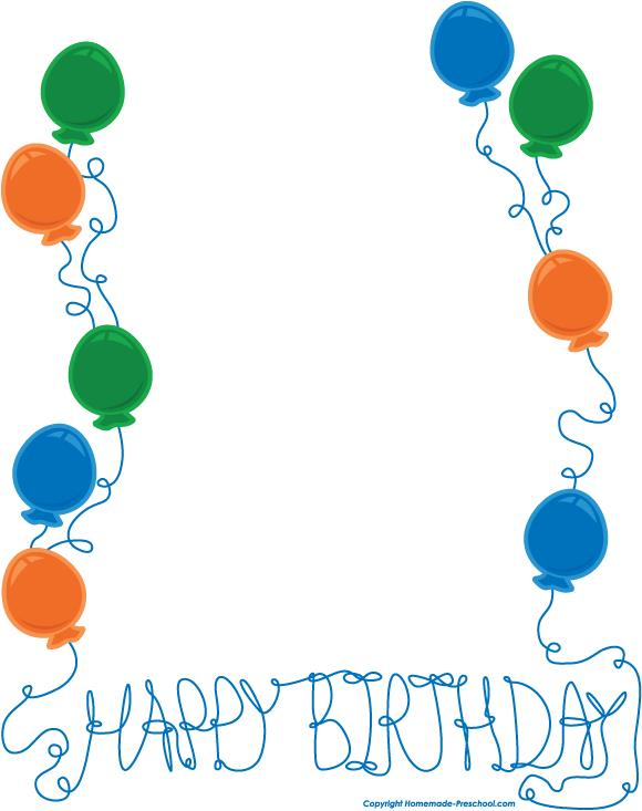 birthday party border clip art ; string-border-boy