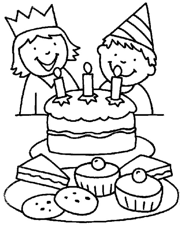 birthday party drawing images ; Two-Kids-Smiling-Birthday-Party-Coloring-Pages