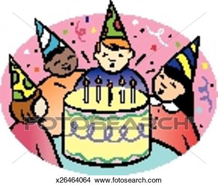 birthday party drawing images ; childrens-birthday-party-drawings__x26464064