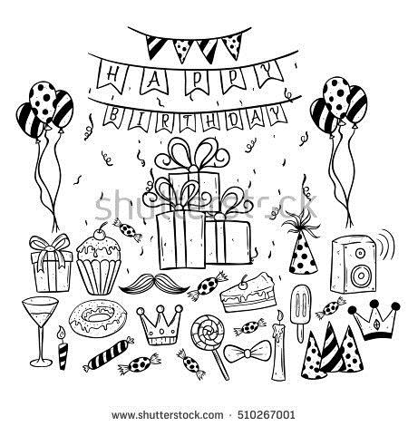 birthday party drawing images ; stock-vector-set-of-birthday-party-collection-using-doodle-art-or-hand-drawing-style-510267001
