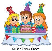 birthday party drawing pictures ; -clip-art-vector_csp14960566