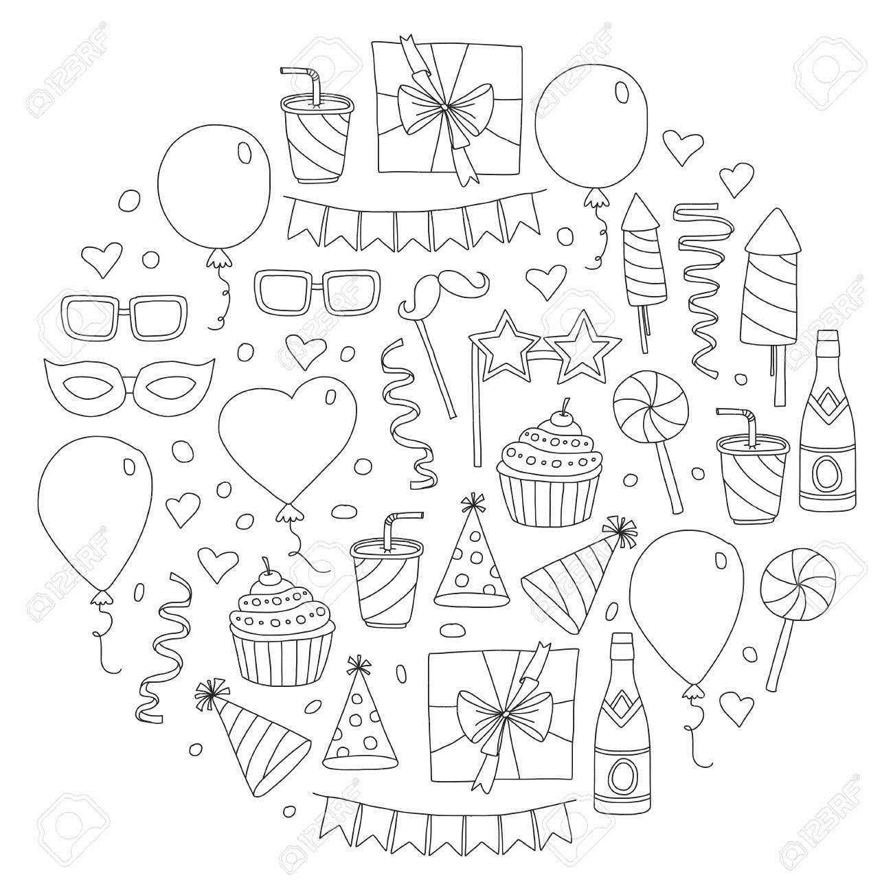 birthday party drawing pictures ; 85817776-set-of-birthday-party-design-elements-kids-drawing-doodle-icons-colorful-balloons-flags-confetti-cup