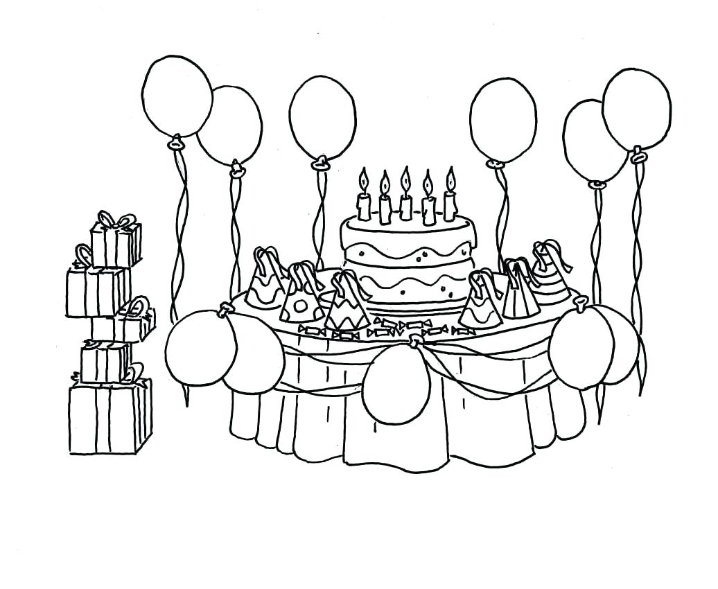 birthday party drawing pictures ; birthday-party-coloring-pages-scene-for-drawing-images-invitation