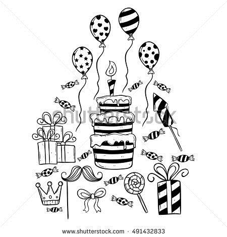 birthday party drawing pictures ; stock-vector-set-of-birthday-party-using-hand-drawing-style-or-doodle-art-491432833