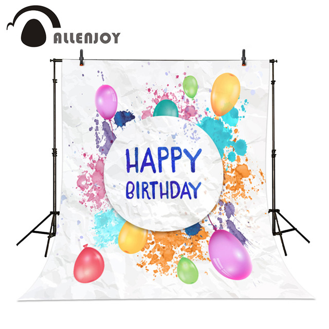 birthday party images for drawing ; Allenjoy-Watercolor-birthday-photographic-background-Drawing-Birthday-Balloons-birthday-party-for-children-backdrops