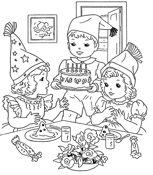 birthday party images for drawing ; Cooking-Birthday-Cake-for-Birthday-Party-Coloring-Pages