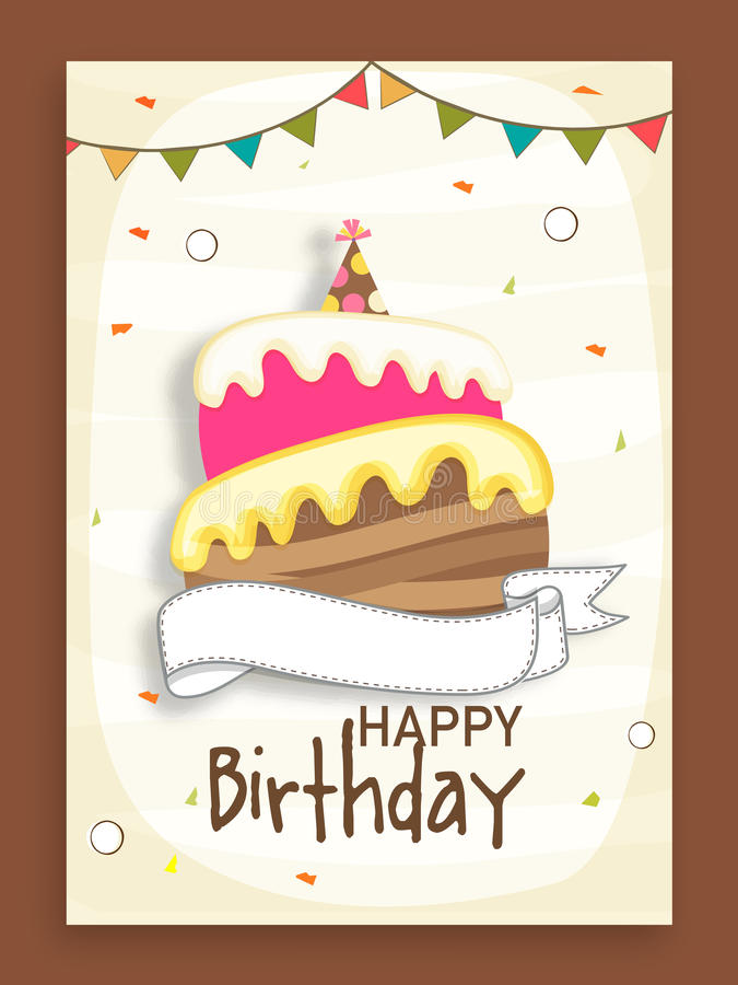 birthday party invitation card design ; birthday-party-celebration-invitation-card-design-beautiful-decorated-flags-cake-50769714