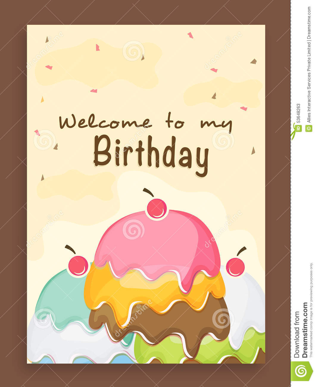 birthday party invitation card design ; invitation-card-design-birthday-party-beautiful-vintage-celebration-decorated-colorful-cake-53648263