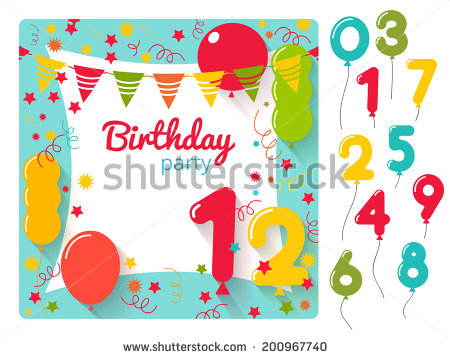 birthday party invitation card design ; stock-vector-vector-birthday-party-invitation-card-design-template-with-balloons-numbers-200967740