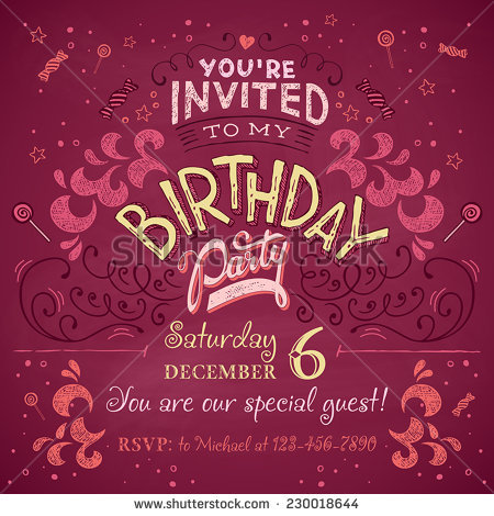 birthday party invitation card design ; stock-vector-vintage-birthday-party-invitation-card-design-typography-and-hand-lettering-230018644