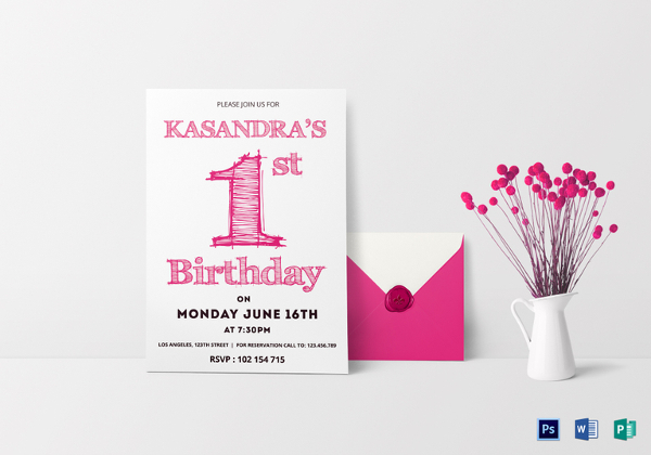 birthday party invitation card template ; 1st-Birthday-Party-Invitation-Card-Template
