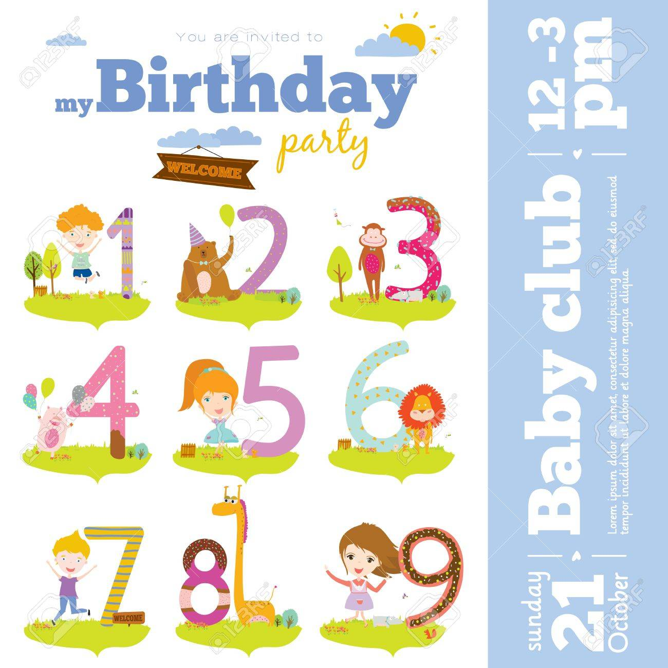 birthday party invitation card template ; 40347605-birthday-anniversary-numbers-with-cute-animals-and-kids-and-birthday-party-invitation-card-template-