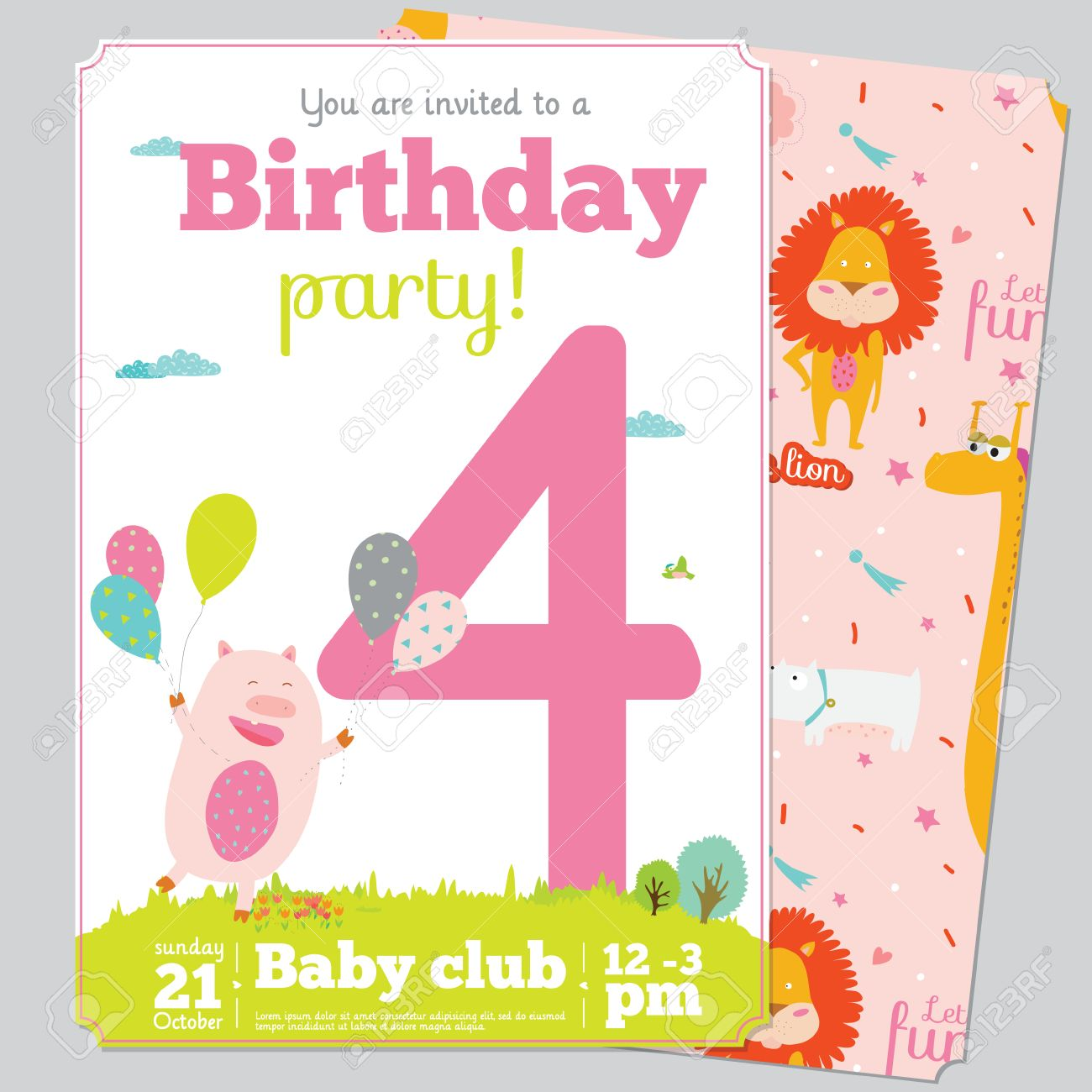 birthday party invitation card template ; 40618435-birthday-anniversary-numbers-with-cute-animals-and-kids-and-birthday-party-invitation-card-template-