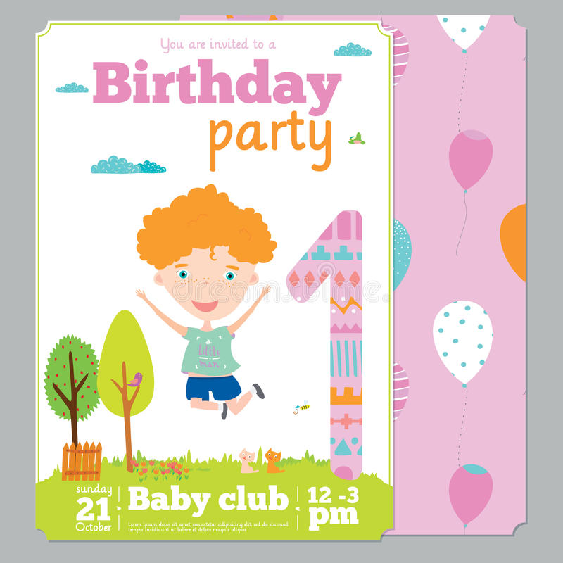 birthday party invitation card template ; birthday-party-invitation-card-template-cute-anniversary-numbers-animals-kids-cartoon-style-54949134