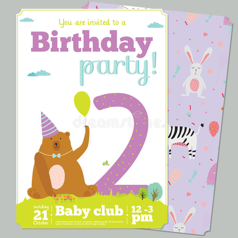 birthday party invitation card template ; birthday-party-invitation-card-template-cute-anniversary-numbers-animals-kids-cartoon-style-54952944