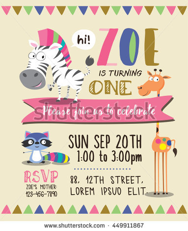 birthday party invitation card template ; stock-vector-cute-animals-birthday-party-invitation-card-template-449911867