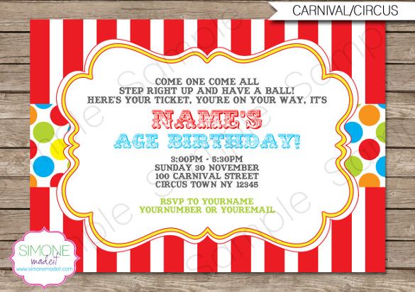 birthday party invitation template photoshop ; Carnival-Birthday-Invitation-Party-Decorations