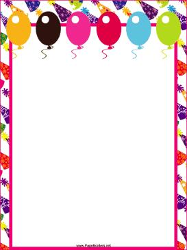 birthday party page borders ; Balloons_and_Hats_Party_Border