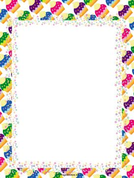 birthday party page borders ; Colorful_Cupcakes_Party_Border