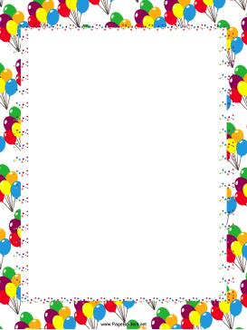 birthday party page borders ; Festive_Balloons_Party_Border