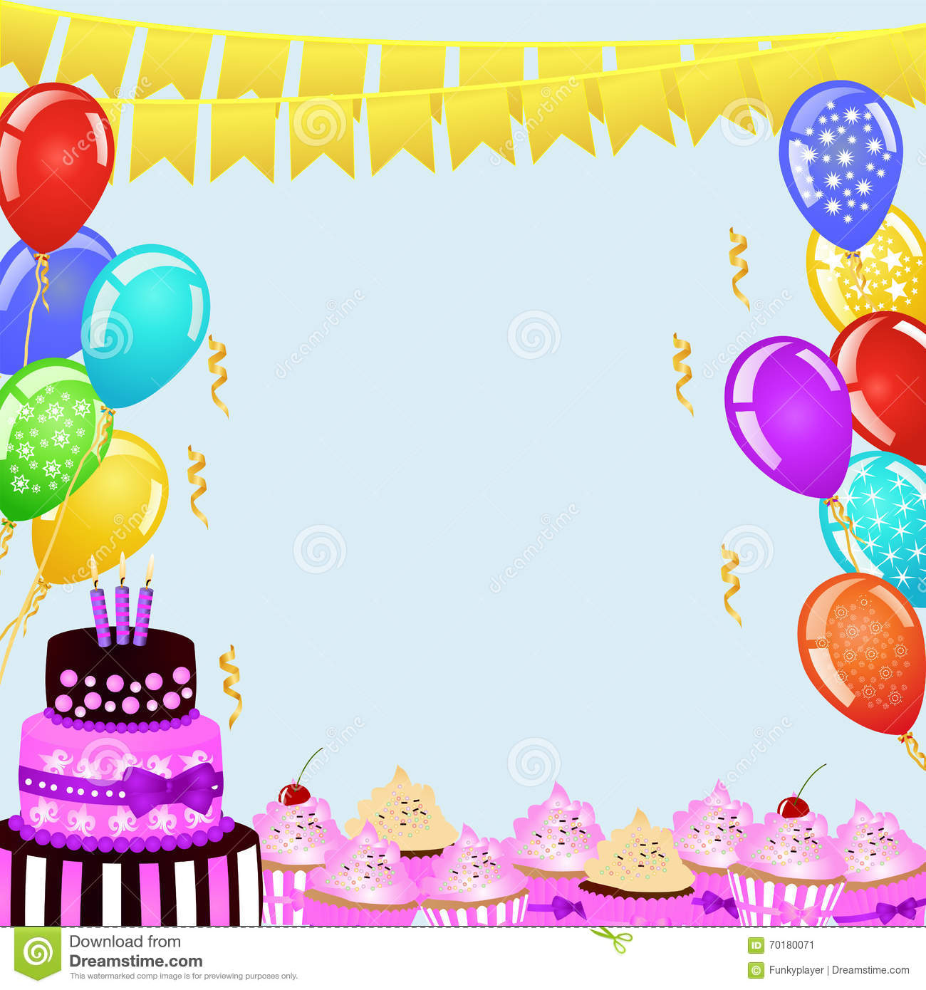 birthday party page borders ; birthday-party-background-bunting-flags-balloons-birthday-cake-cupcakes-border-your-design-festive-frame-70180071