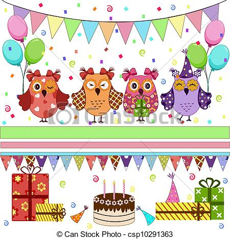 birthday party pictures for drawing ; birthday-party-owls-set-clip-art-vector_csp10291363