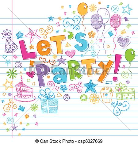birthday party pictures for drawing ; birthday-party-time-sketchy-doodles-drawing_csp8327669